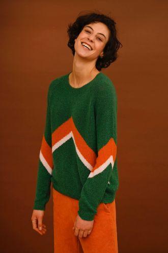 Mira Colourblock-trui voor Dames Evergreen