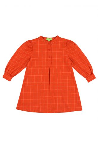 Cilou Dress Grid Orange