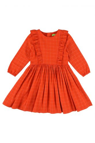 Coco Dress Grid Orange