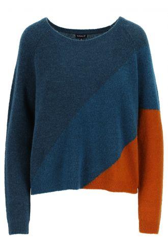 Luda Colourblock-trui voor Dames Petrol