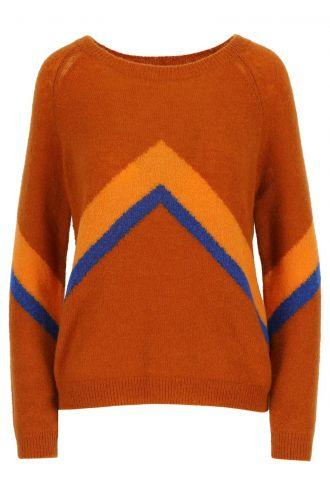 Mira Colourblock-trui voor Dames Rust